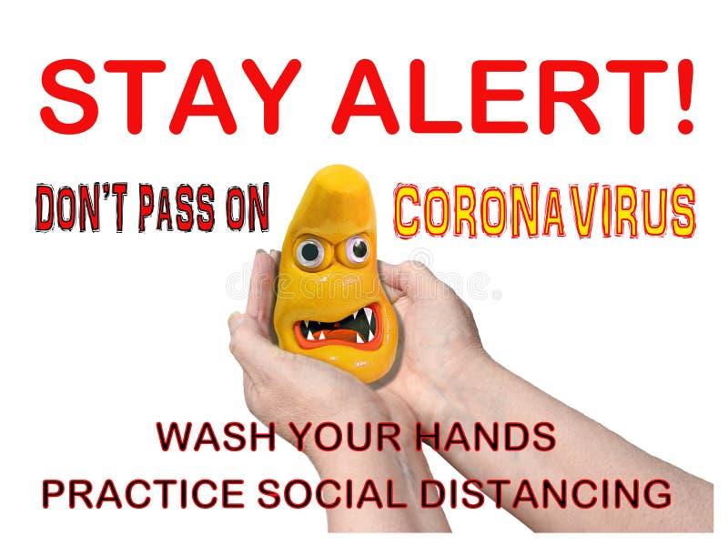 Coronavirus covid-19 pandemic stay alert warning danger sign poster public disease wash your hands hygiene hygienic bug bugs hand stock photos
