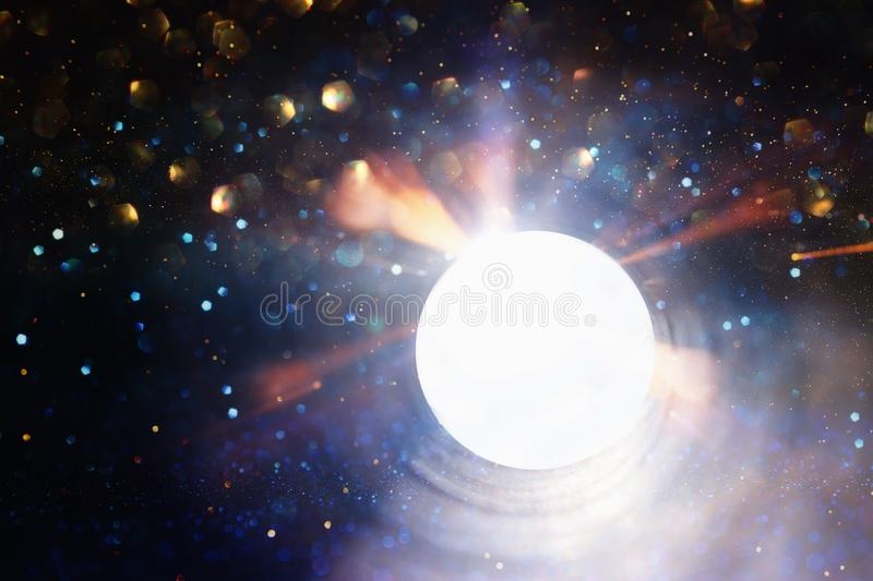 Concept photo of seeing the light at the end of the tunnel .sci fi or mystery.  royalty free stock photos
