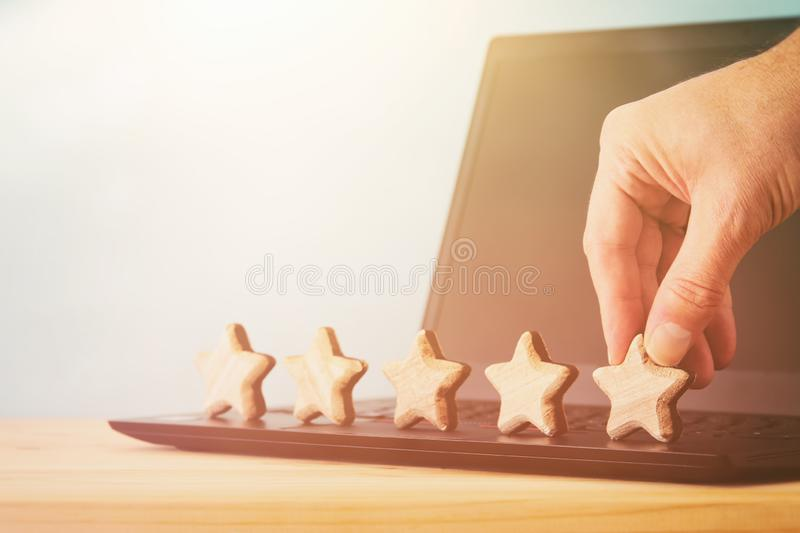Concept photo of setting a five star goal. increase rating or ranking, evaluation and classification idea. Concept photo of setting a five star goal. increase royalty free stock image