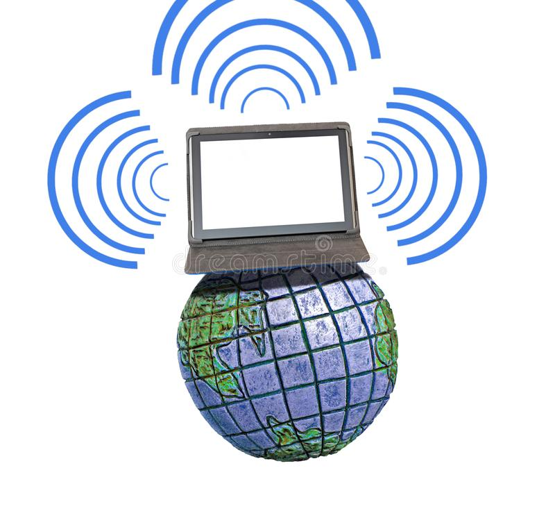 Global international communications network comms. Concept photo of tablet device computer on top of the world communicating with digital network.blank negative stock photography