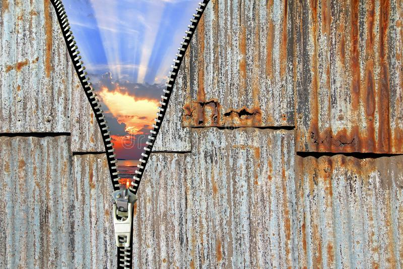 Ghetto life unzip road to freedom third world urban corrugated fence barrier camp prison wall cell royalty free stock image
