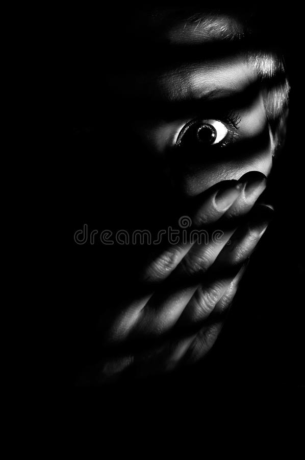 Concept photo of woman, witness of horror. Low key concept photo of woman looking through window jalousies and being witness of horror stock image