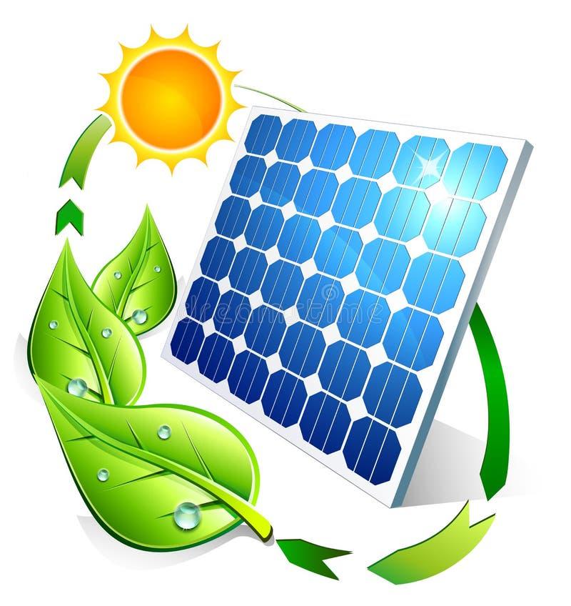 Concept photovoltaïque - feuilles et soleil de panneau illustration de vecteur