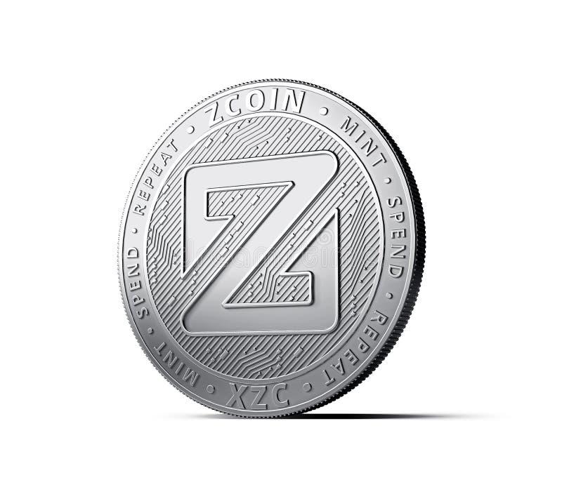 Concept physique de pièce de monnaie de cryptocurrency de Zcoin d'isolement sur le fond blanc illustration de vecteur
