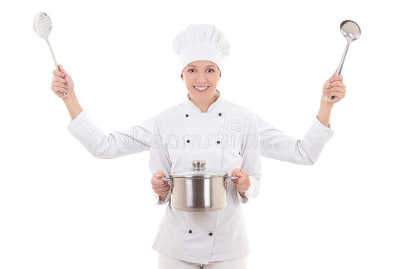 Concept picture of attractive woman in chef uniform with four ha. Nds isolated on white background stock image