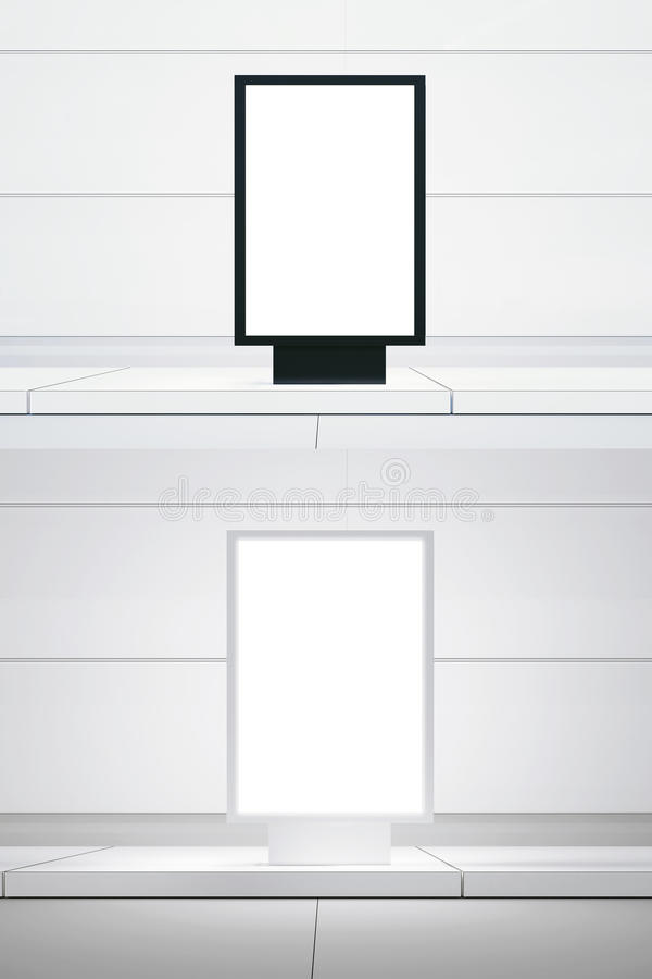 Concept picture double white digital panel. Black empty canvas lightbox city street. Blank White wall background. Empty, ready for vector illustration