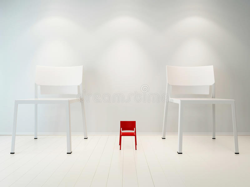 Concept picture of litte red chair vs white chair royalty free illustration