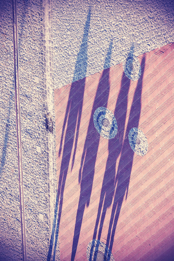 Concept picture, shadows of four people walking on street.  royalty free stock photo