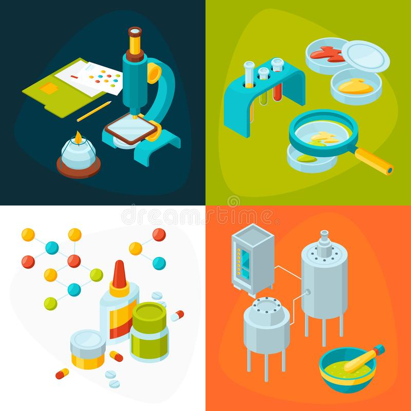Concept pictures set of medicine and pharmacology industry. Pharmacy technology, medical and chemistry experiment, vector illustration vector illustration