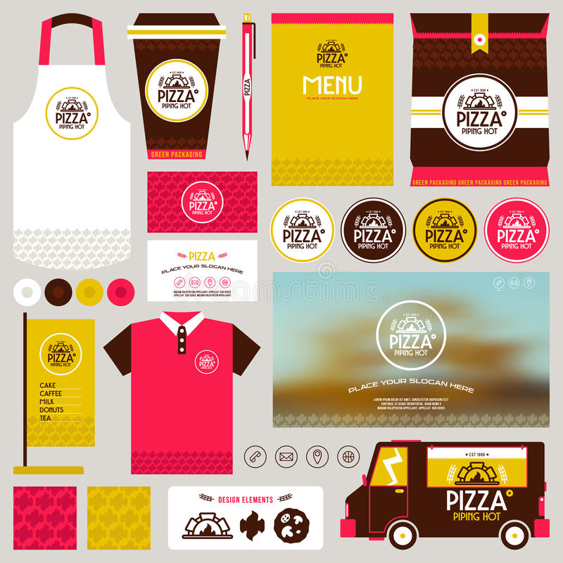 Concept for pizzeria identity mock up template stock illustration