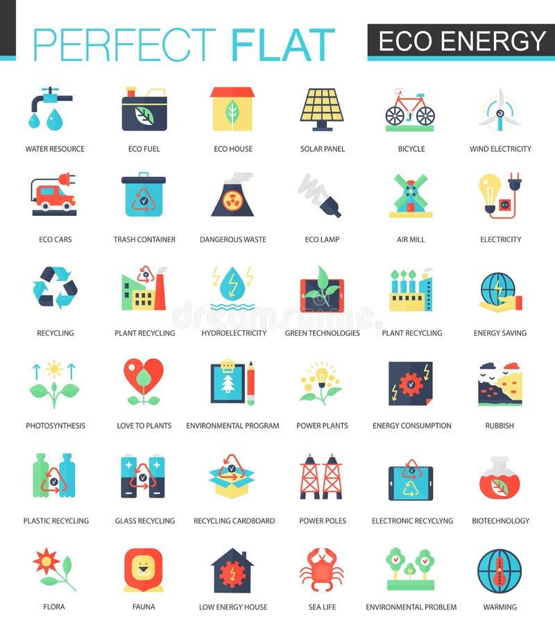 Concept plat complexe d'icône d'énergie d'Eco de vecteur Conception infographic d'icônes de Web illustration de vecteur