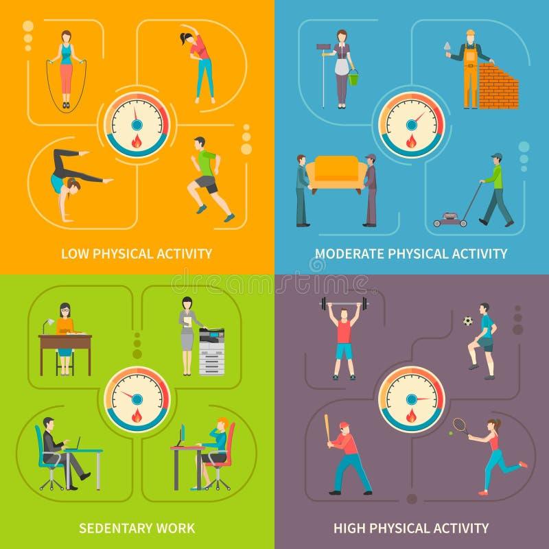 Concept plat d'activité physique illustration libre de droits