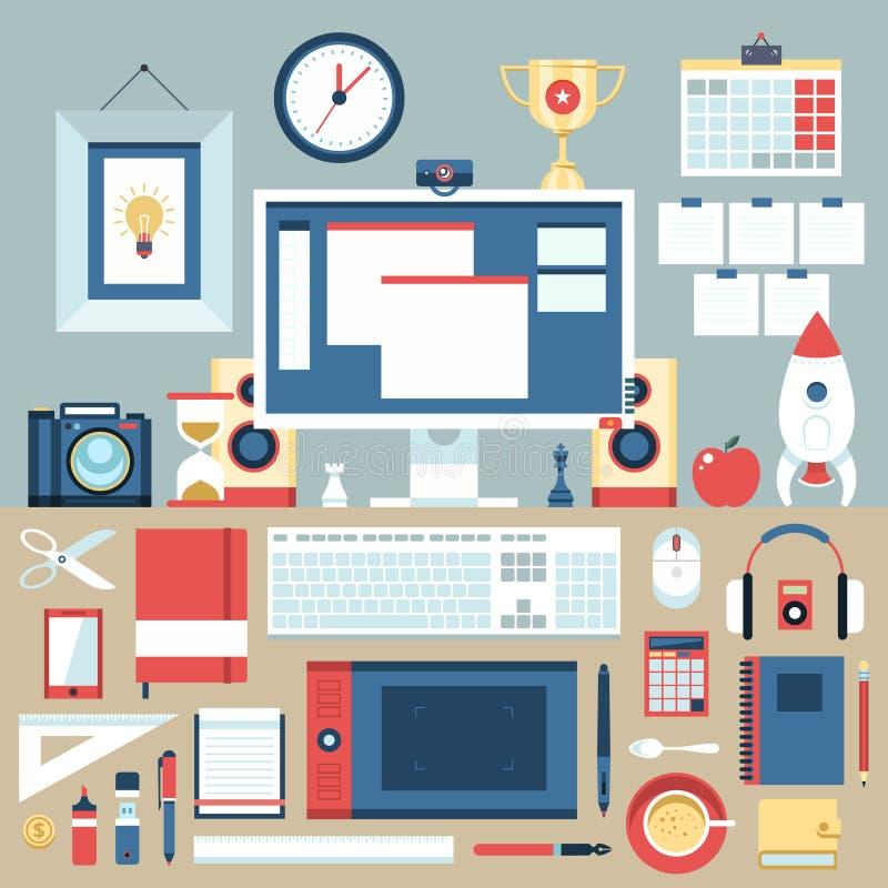Concept plat d'illustration de conception moderne d'espace de travail créatif de bureau illustration libre de droits