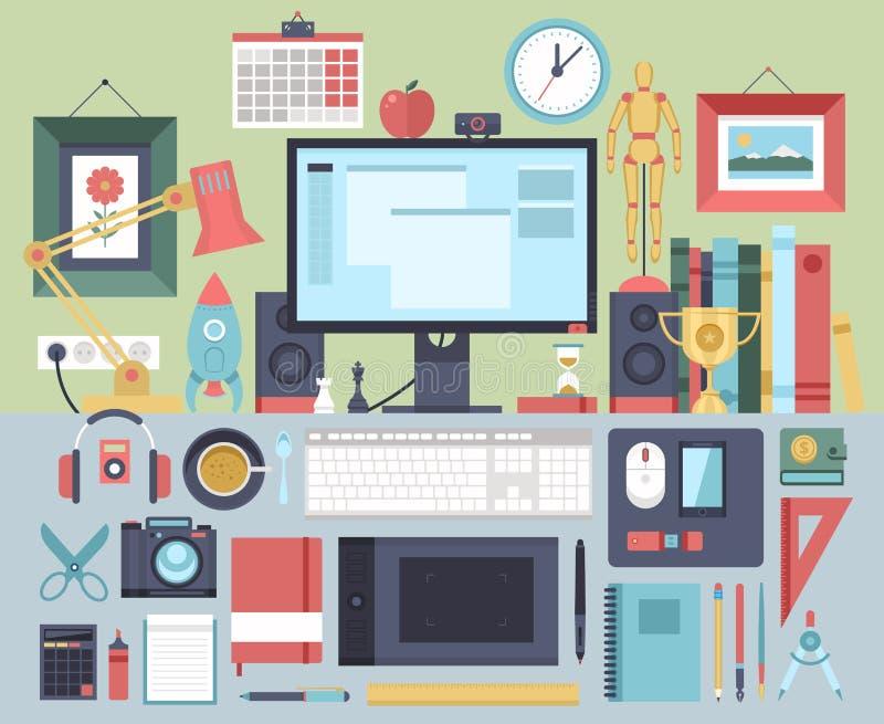 Concept plat d'illustration de conception moderne d'espace de travail créatif de bureau illustration stock
