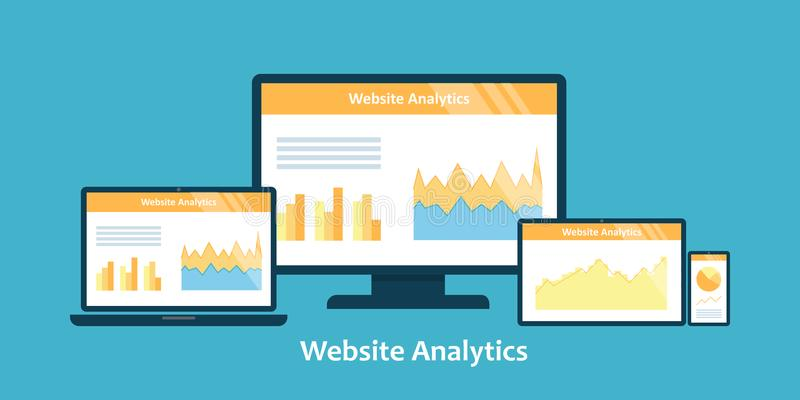 Concept plat d'illustration de vecteur de conception d'analytics de site Web illustration stock