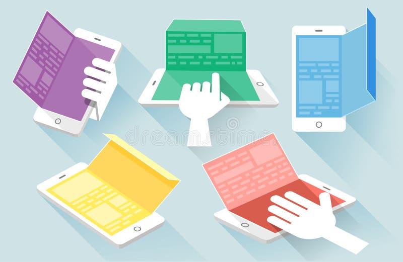 Concept plat d'illustration de vecteur de conception pour le mobile illustration stock