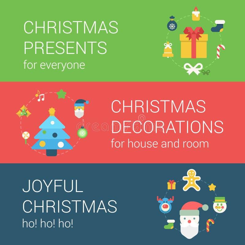 Concept plat de bannière d'icône de Web de style de vacances de nouvelle année de Noël illustration stock