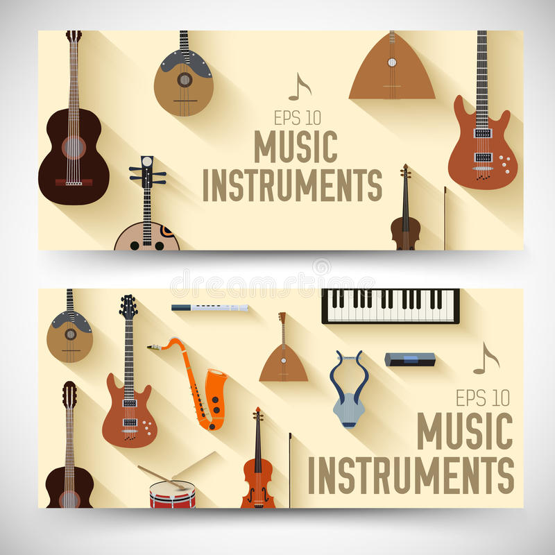 Concept plat de bannières d'instruments de musique Vecteur illustration de vecteur