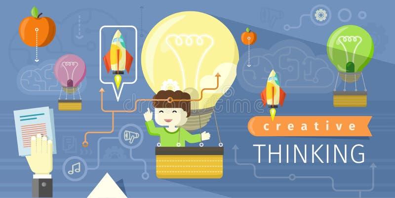 Concept plat de conception de pensée créative illustration stock