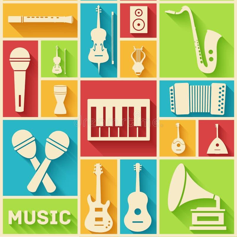 Concept plat de fond d'instruments de musique Vecteur illustration stock