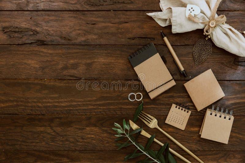 Concept plat de mariage de configuration Planificateur de mariage photo libre de droits