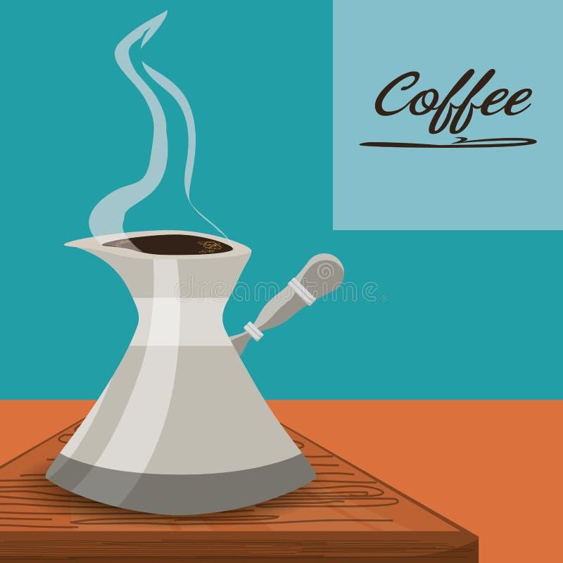 Concept plat de pot avec les boissons chaudes de café illustration de vecteur