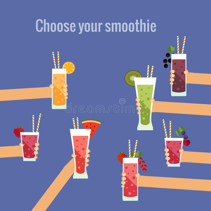 Concept plat de smoothie frais illustration de vecteur