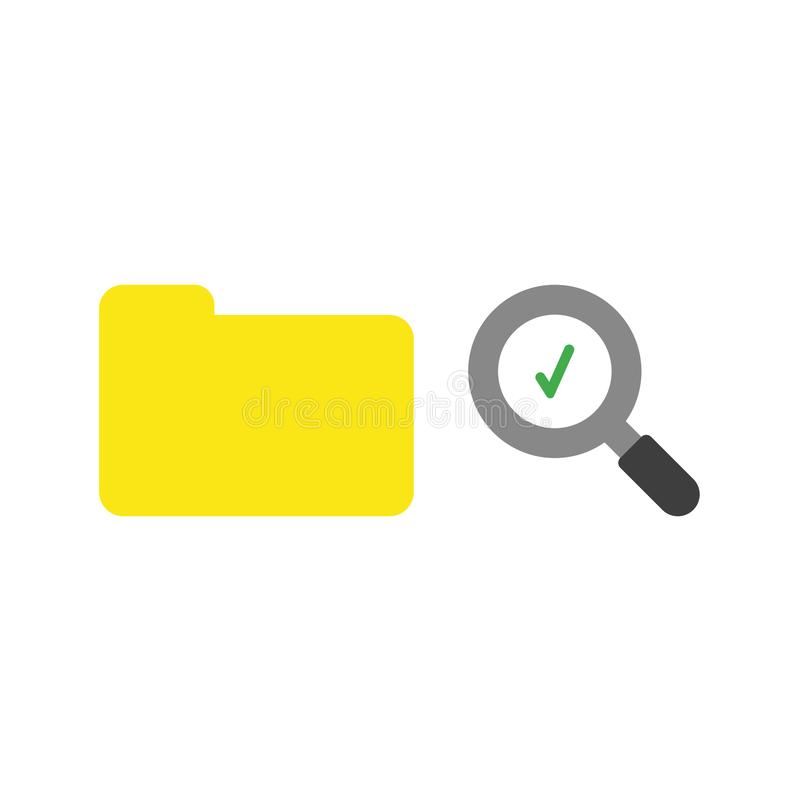 Concept plat de vecteur de conception de dossier fermé avec des glas de agrandissement illustration stock