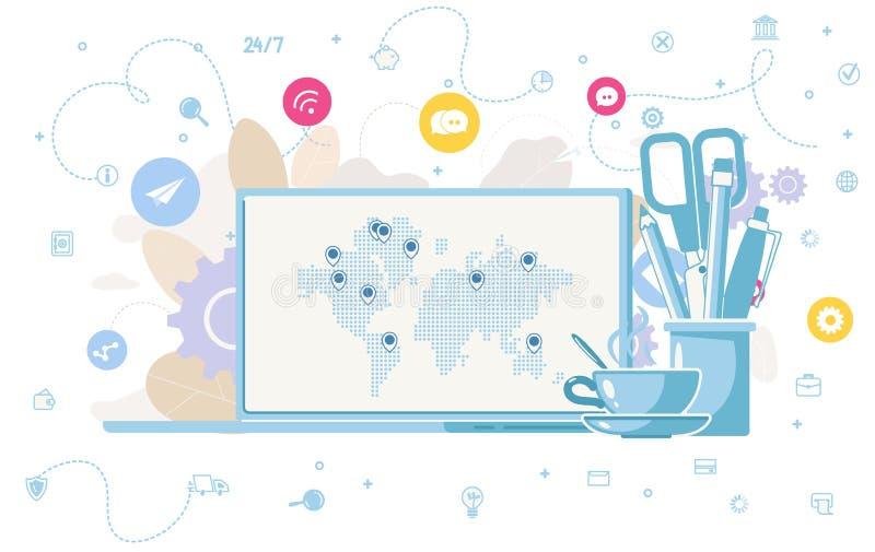 Concept plat de vecteur d'affaires en ligne mondiales illustration de vecteur