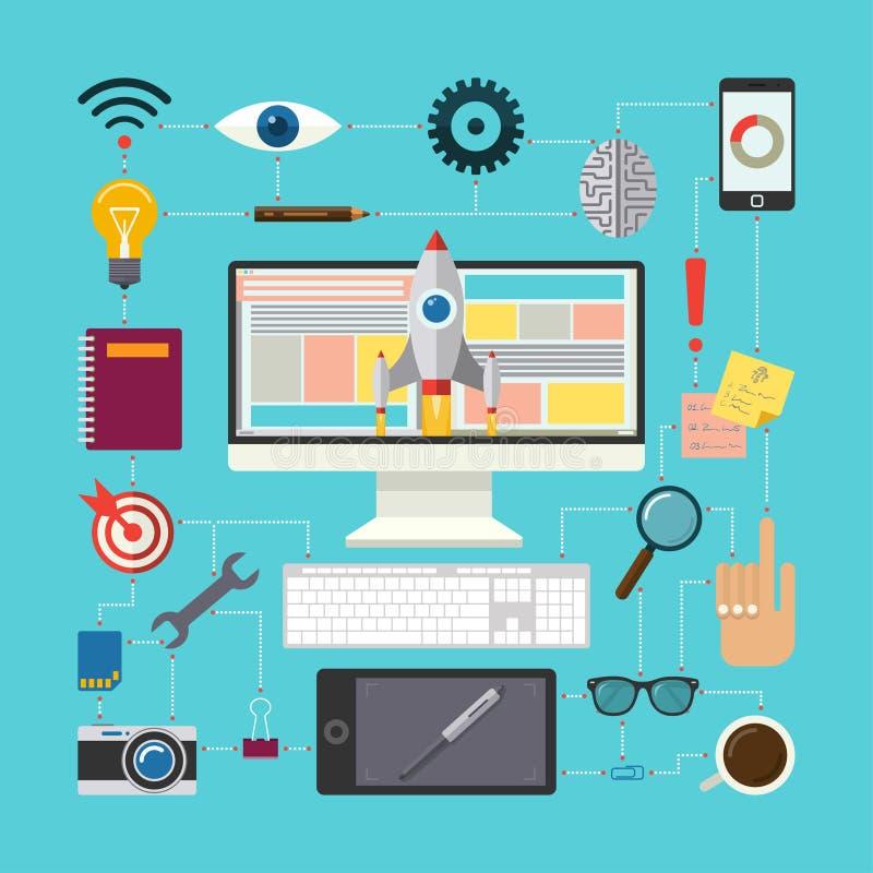 Concept plat de vecteur de conception du processus créatif illustration libre de droits