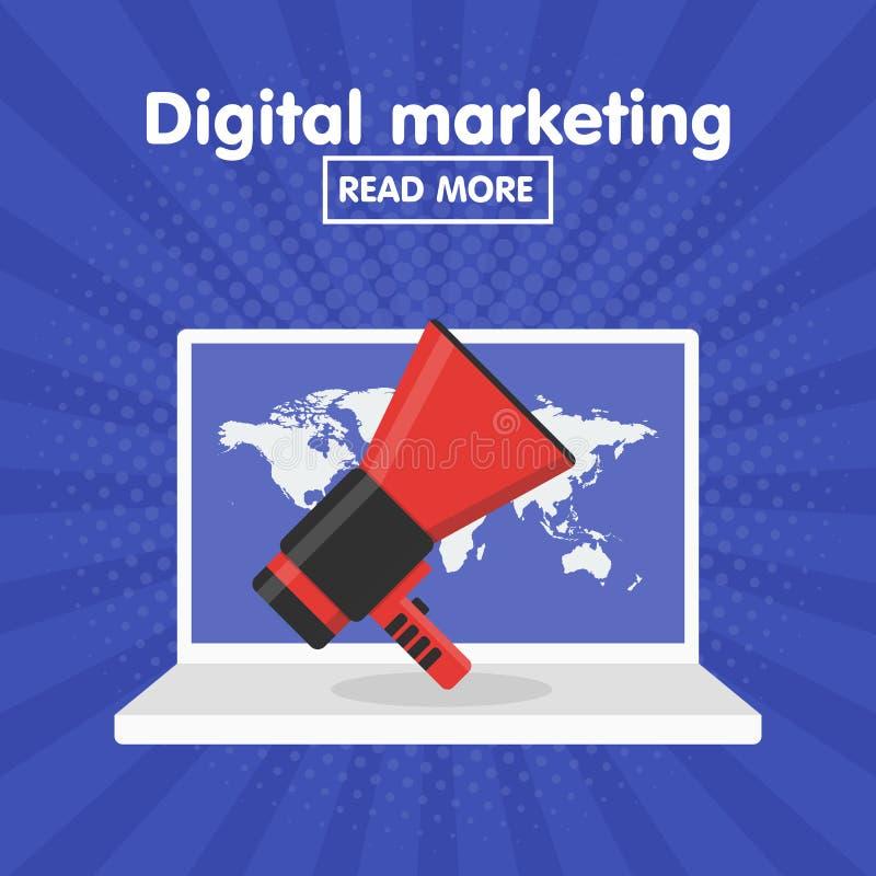 Concept plat de vecteur de conception pour le marketing numérique illustration libre de droits