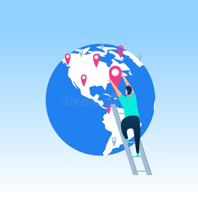 Concept plat de vecteur de destinations mondiales de voyage illustration de vecteur