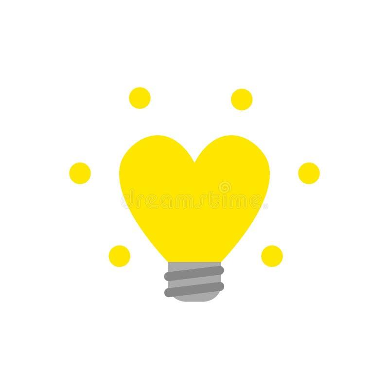 Concept plat de vecteur de style de conception de la lumière en forme de coeur rougeoyante b illustration stock