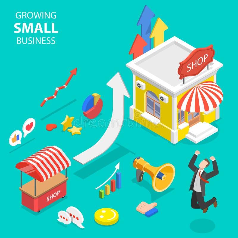 Concept plat isométrique de vecteur de croissance de petite entreprise, stratégie marketing photos libres de droits