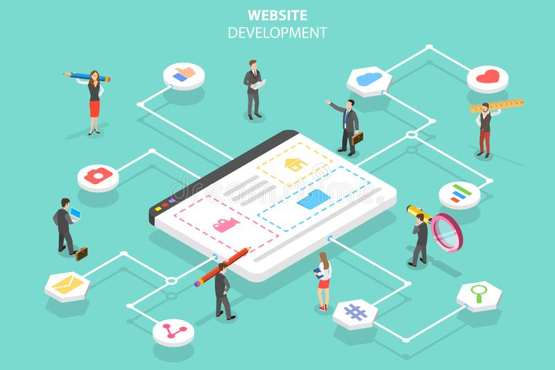 Concept plat isométrique de vecteur d'agence de services de Web, constructeur de site Web illustration stock