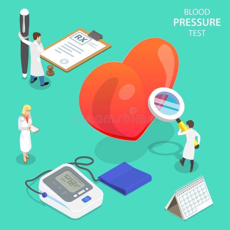 Concept plat isométrique de vecteur d'essai de tension artérielle, tonometer numérique médical illustration de vecteur