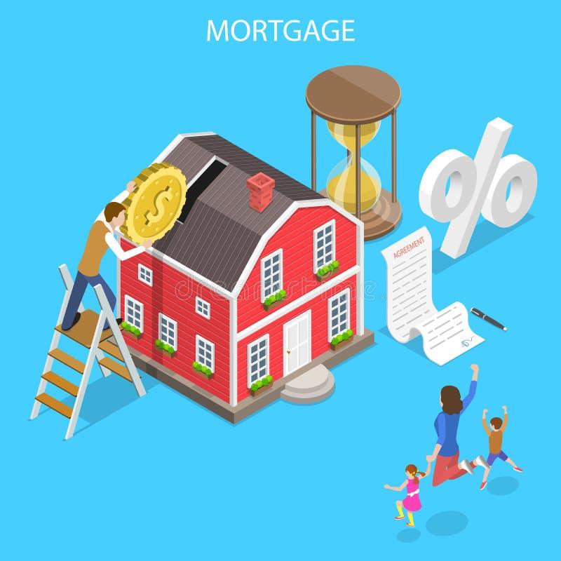 Concept plat isométrique de vecteur d'hypothèque, affaire d'immobiliers photo stock