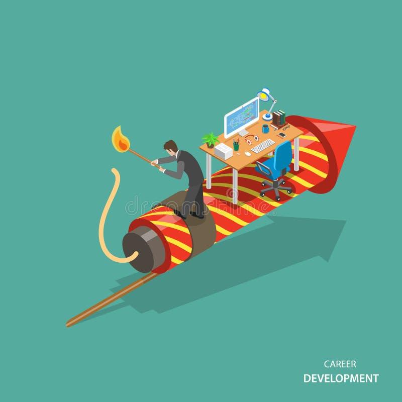 Concept plat isométrique de vecteur de développement de la vie professionnelle illustration de vecteur
