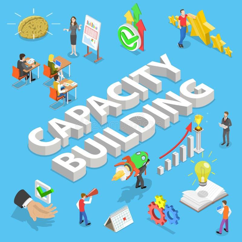 Concept plat isométrique de vecteur du bâtiment de capacité, processus de l'obtention de qualifications illustration libre de droits
