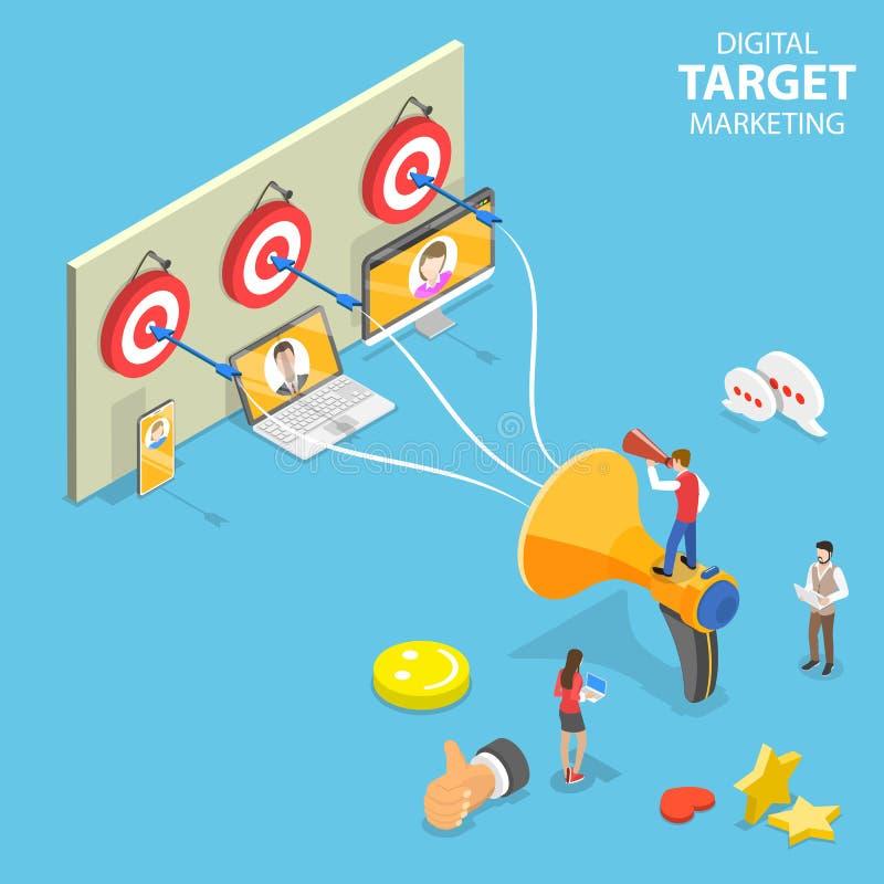 Concept plat isométrique de vecteur de la commercialisation ciblée numérique, la publicité visée photo stock