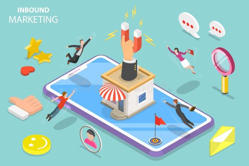 Concept plat isométrique de vecteur de stratégie marketing d'arrivée de Digital illustration de vecteur