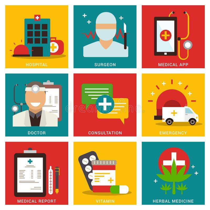 Concept plat médical de neuf articles illustration de vecteur
