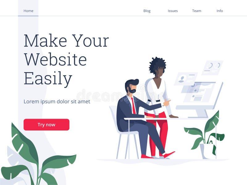 Concept plat moderne d'illustration de vecteur des personnes faisant la page Web concevoir pour le site Web Conception créative d illustration de vecteur