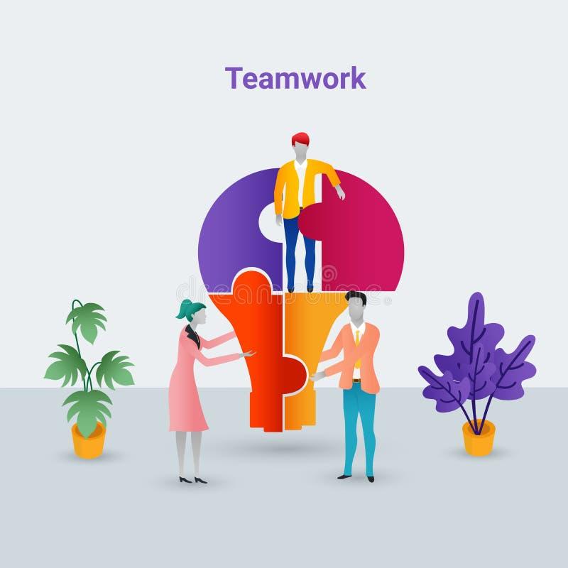Concept plat moderne de travail d'équipe de conception, gens d'affaires de se réunir illustration de vecteur