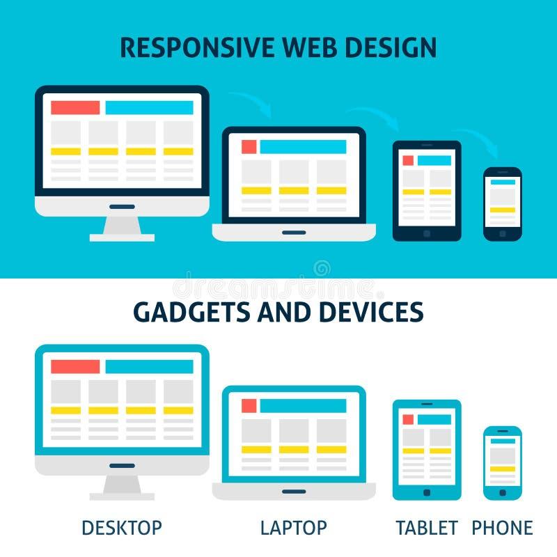 Concept plat sensible d'instruments et de dispositifs de web design illustration stock