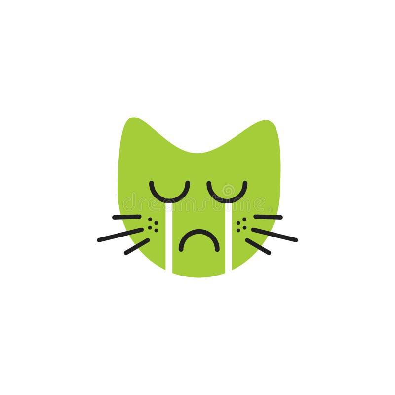 Concept pleurant de logo d'émoticône de chat de visage illustration stock
