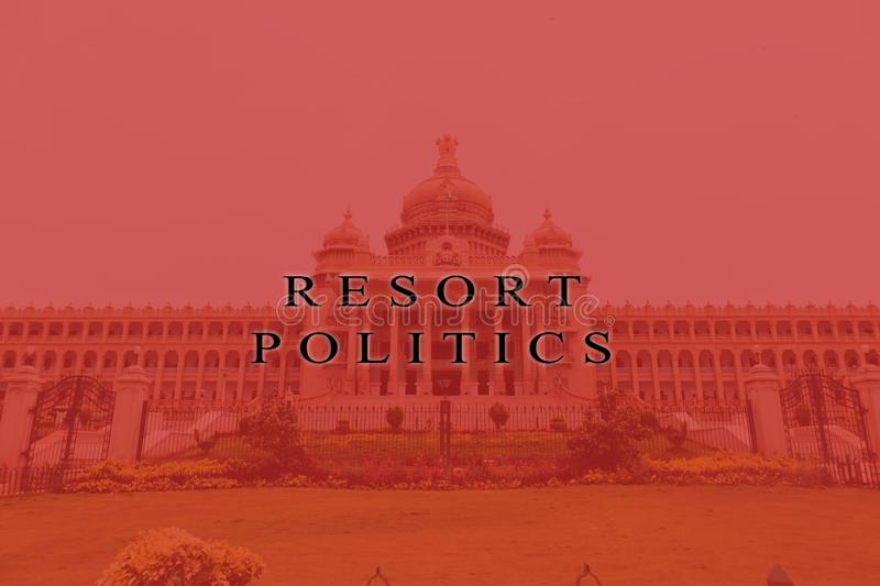 Concept of political crises in Indian democracy, Printed Resort Politics on Vidhana Soudha.  royalty free stock image