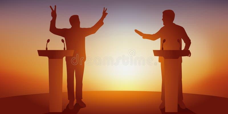 Concept politiek debat met twee tegenstanders die hun programma achter bureaus confronteren vector illustratie