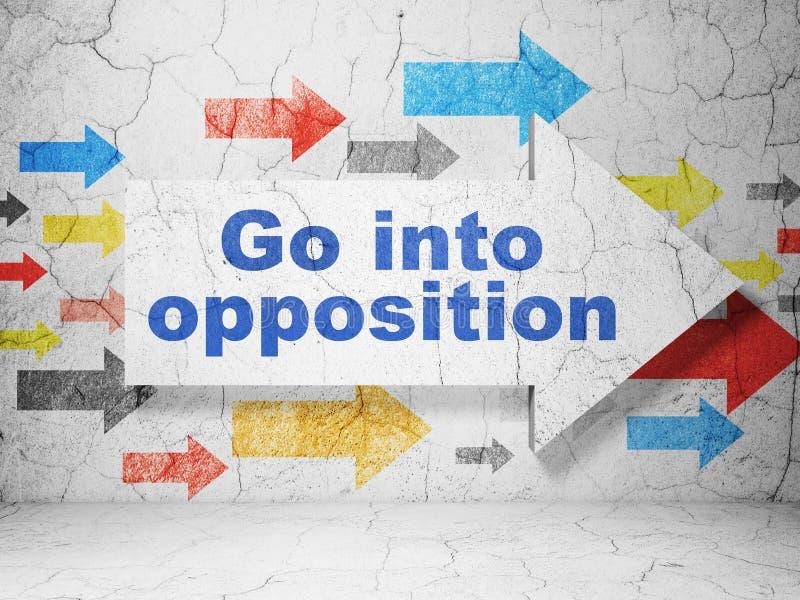 Concept politique : la flèche avec entrent dans l'opposition sur le fond grunge de mur illustration libre de droits