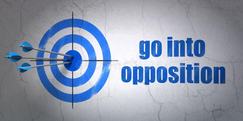 Concept politique : visez et entrez dans l'opposition sur le fond de mur illustration stock
